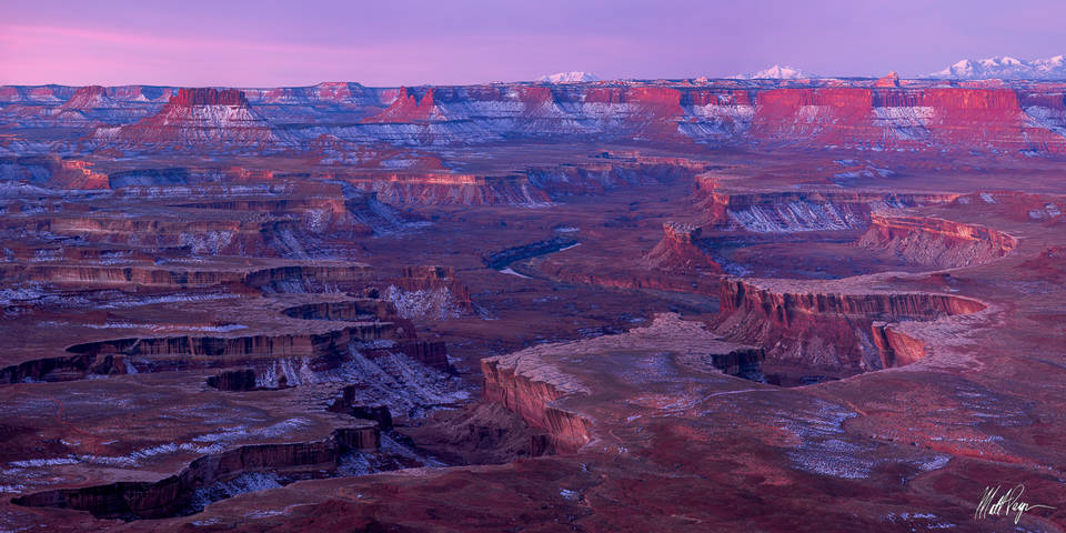 Canyonlands, Canyonlands National Park, Canyons, Grand Scenic, Green River, Green River Overlook, Island in the Sky, Mountains, Snow, Sunrise, Utah, Winter, desert, pastel