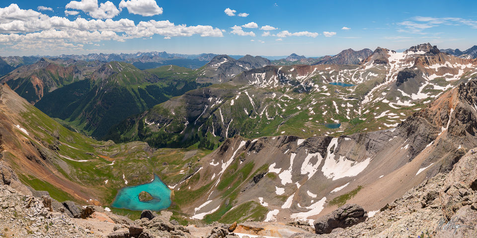 Colorado, mountains, 13ers, 14ers, Island Lake, U.S. Grant Peak, Ulysses S. Grant Peak, Vermillion Peak, Fuller Peak, Golden Horn, Pilot Knob, San Juan Mountains, Silverton, turquoise water