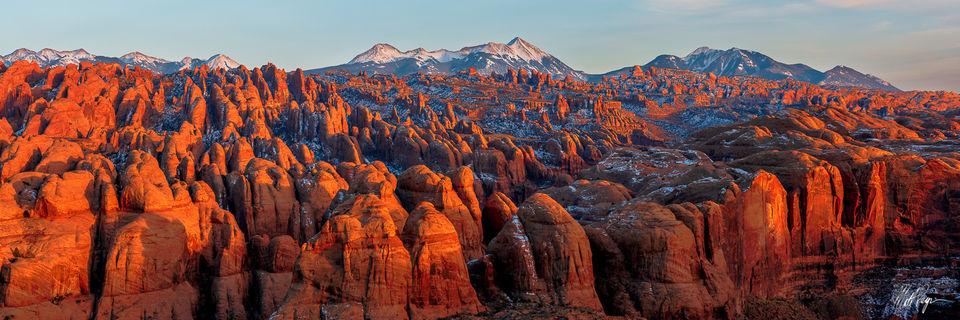Glow, Grand Scenic, La Sal Mountains, Moab, Panorama, Panoramic, Sandstone, Sunset, Utah, Winter, landscape photography