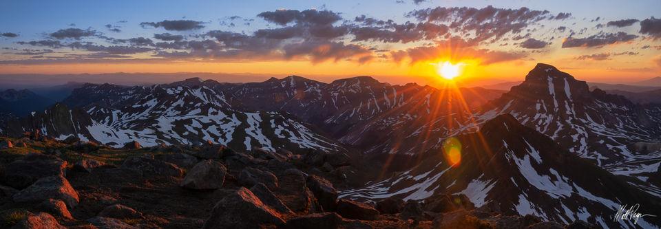 14er, Colorado, Landscape, Mountains, Panorama, Panoramic, San Juan Mountains, Sunrise, Sunstar, Uncompahgre Peak, Wetterhorn Peak