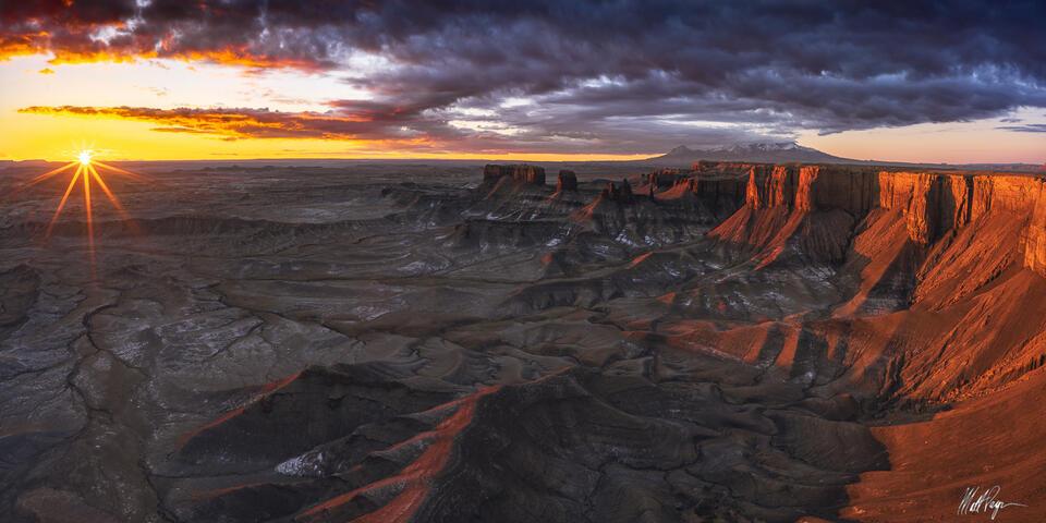 Clouds, Glow, Landscape, March, Panoramic, Rock, Sand, Southwest, Spring, Sunrise, Sunstar, Utah, desert, geologic, 2x1
