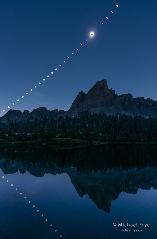 Solar eclipse sequence, Sawtooth Mountains, ID, USA, August 21, 2017