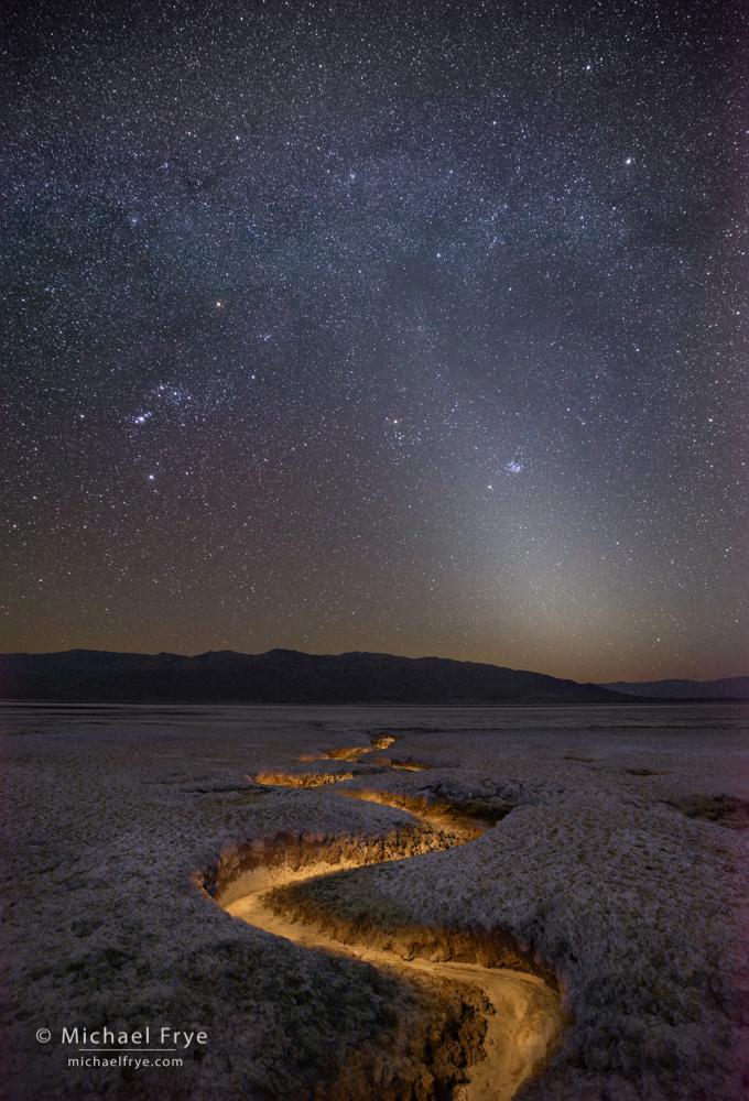 California, Celestial Objects, Death Valley NP, National Park, Orion, USA, light-painted, night, salt flats, stars, zodiacal light, photo