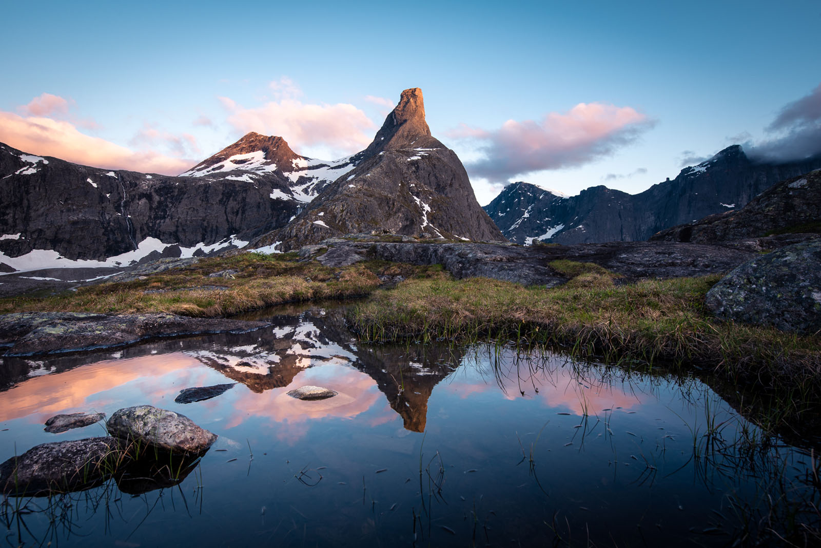 2019, Andalsnes, Norway, Romdalshorn, Sunrise, Trollvegen, moutnains, refelctions, sunset, photo