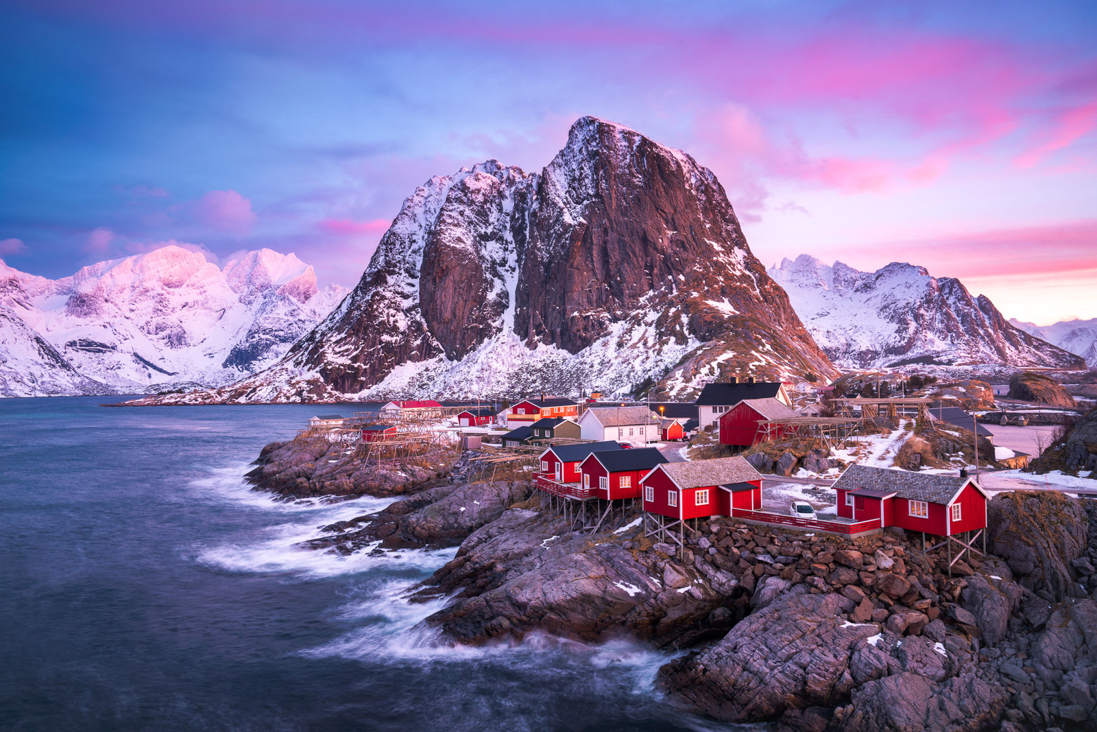 Hamnoy Bridge, Long Exposure, Mountains, Ocean, Red Cabins, Winter, norway, reine, photo