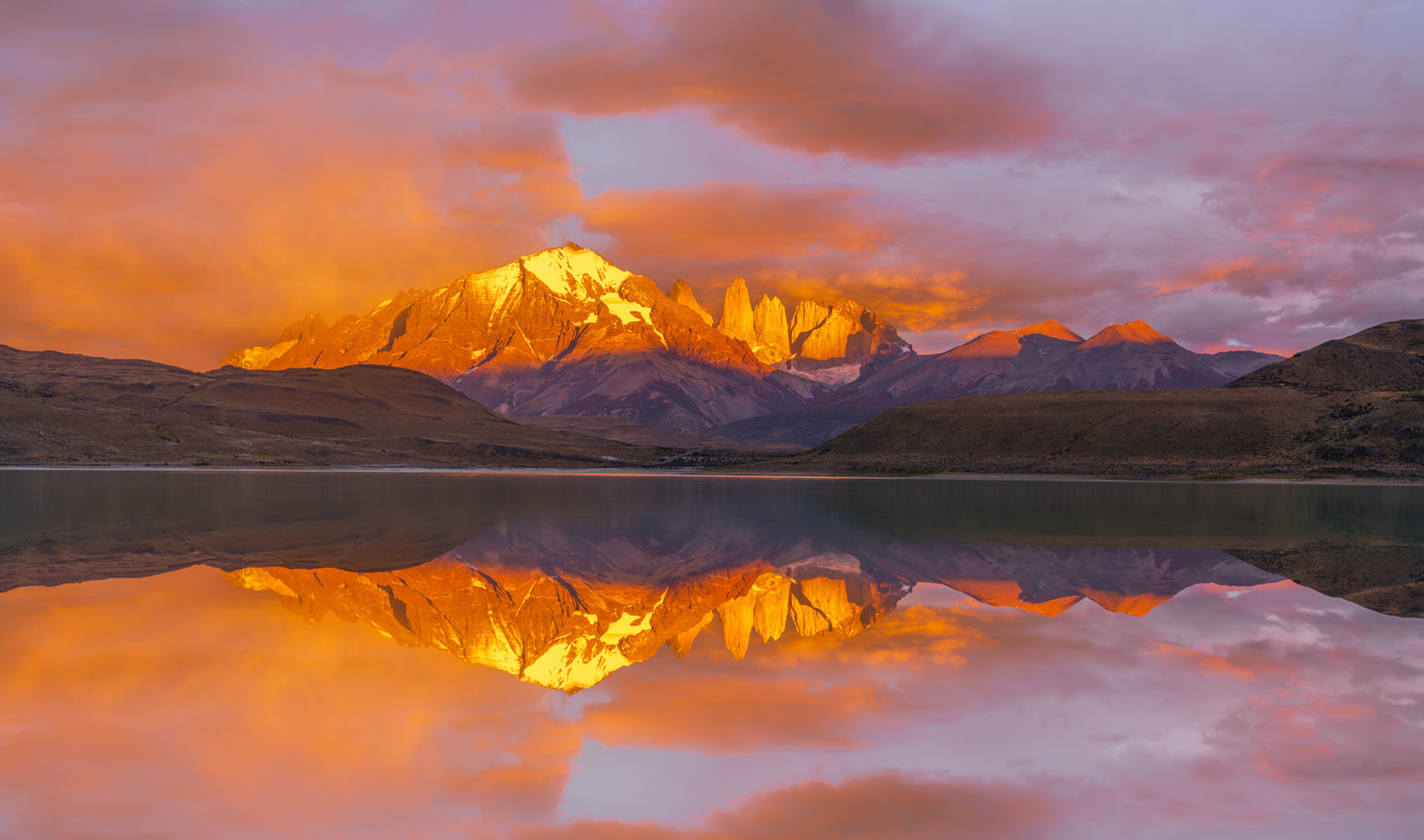 Laguna Amarga, Las Torres, Mountains, Pano, Panorama, Patagonia, Reflections, South America, Torres Del Paine, photo