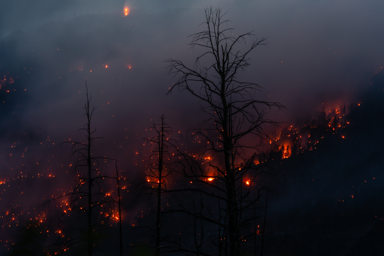 Smoldering flames from the 416 fire burn through the night above the town of Hermosa, Colorado.Photo © copyright by Matt Payne...