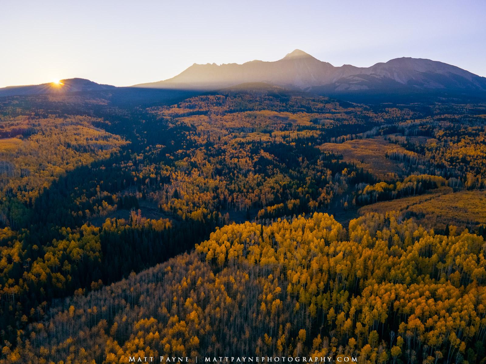 trees, fall, colorado, san juan mountains, sun, sunrise, photo
