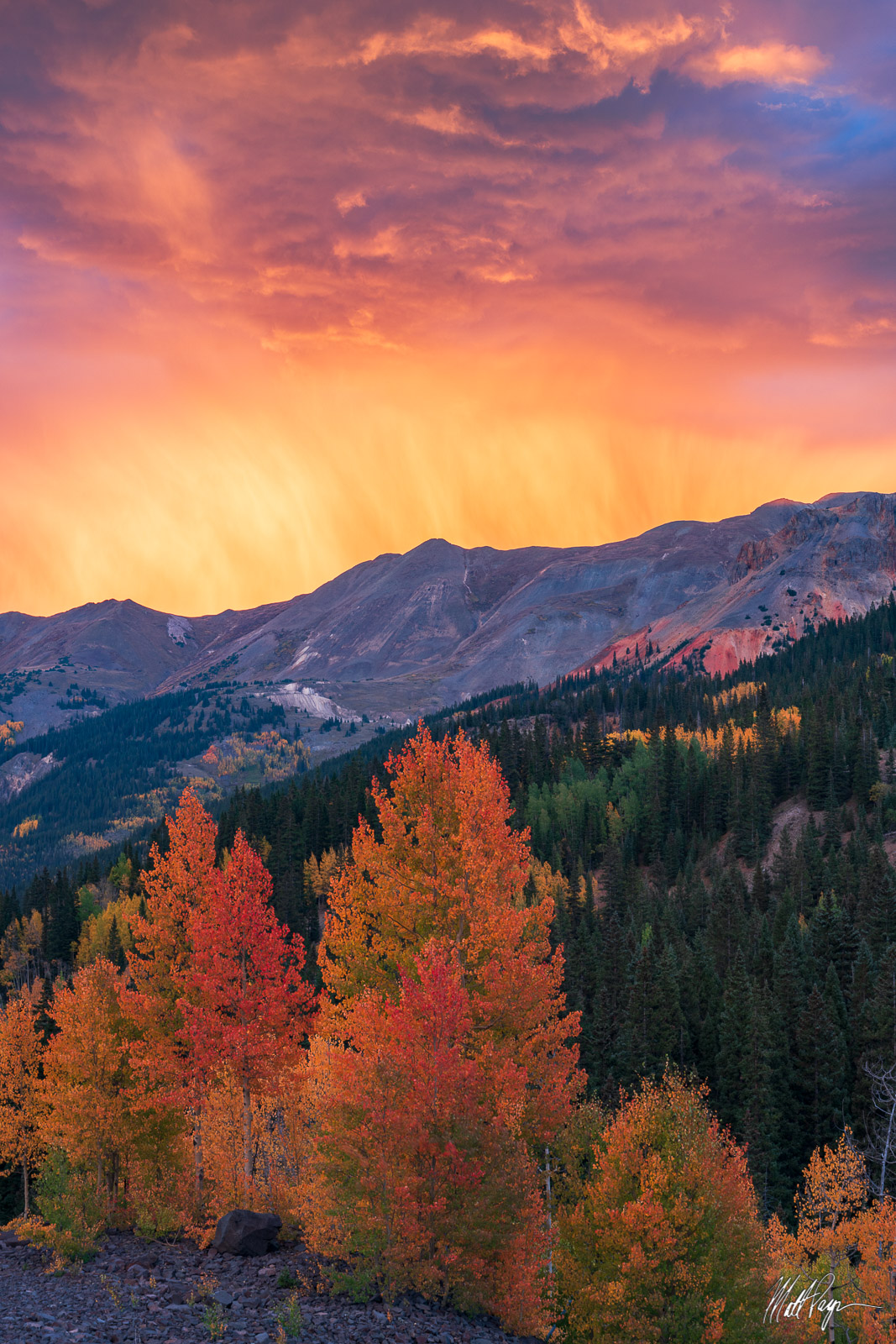 Aspen Trees, Autumn, Clouds, Colorado, Fall, Fall Colors, Landscape, Mountains, Red Mountain Pass, San Juan Mountains, storm, photo