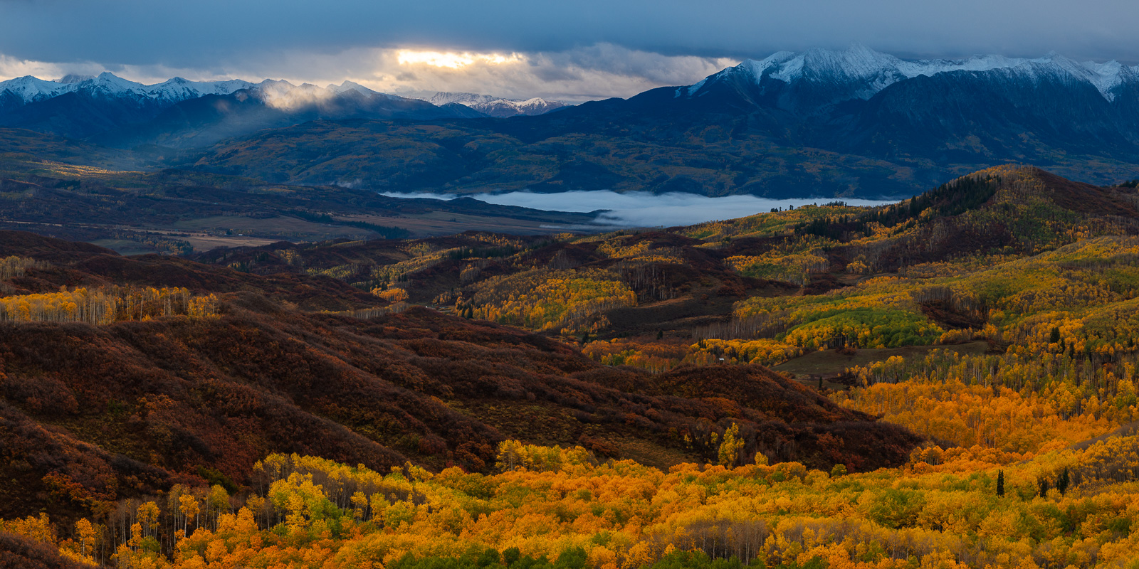 Aspen Trees, Autumn, Carbondale, Chair Mountain, Colorado, Fall, Fall Colors, Fog, Landscape, McClure Pass, Mountains, Ragged Wilderness, Redstone, Snow Capped, Landscape Photography, photo