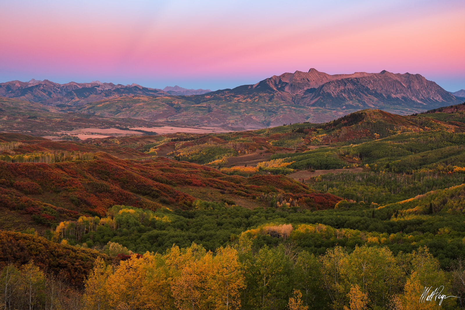 Aspen Trees, Autumn, Belt of Venus, Carbondale, Chair Mountain, Colorado, Earth Glow, Elk Mountains, Fall, Fall Colors, Landscape, Maroon Bells, McClure Pass, Mountains, The Raggeds, photo