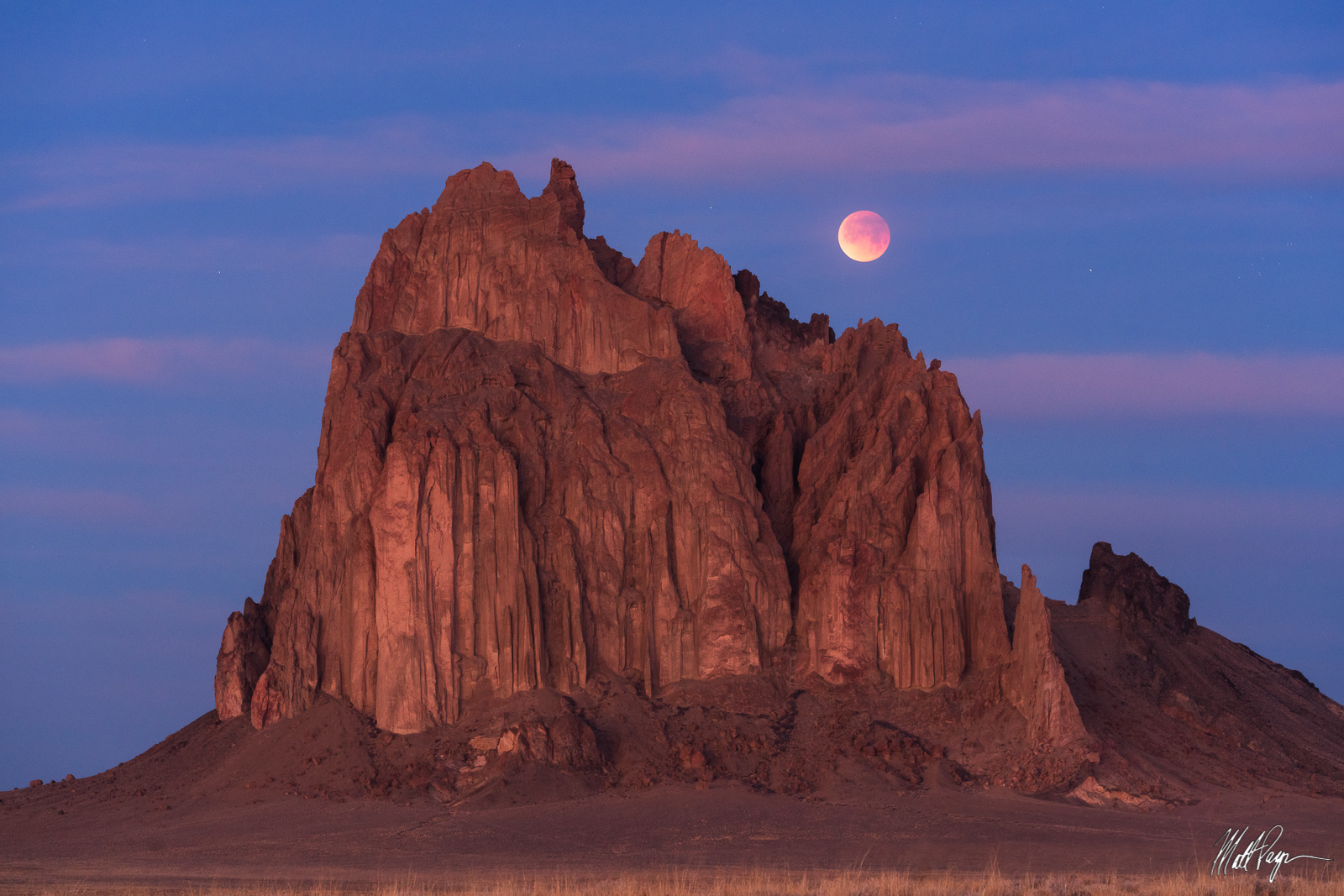 Blood Moon, Landscape, Lunar Eclipse, Moon, New Mexico, Rock Formation, Shiprock, Navajo land, desert, photo