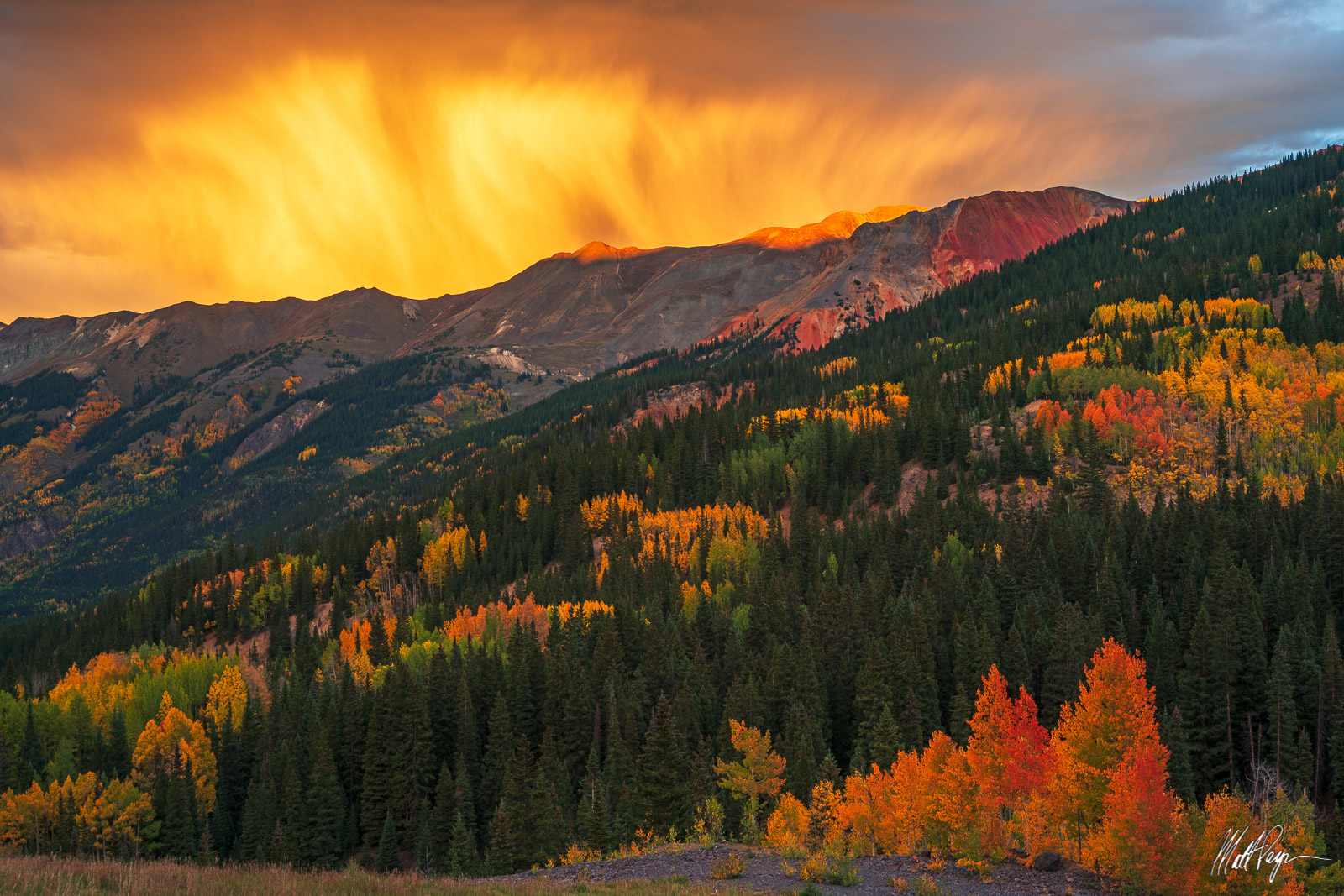 Aspen Trees, Autumn, Clouds, Colorado, Fall, Fall Colors, Landscape, Mountains, Red Mountain Pass, San Juan Mountains, storm, Ouray, Silverton, photo