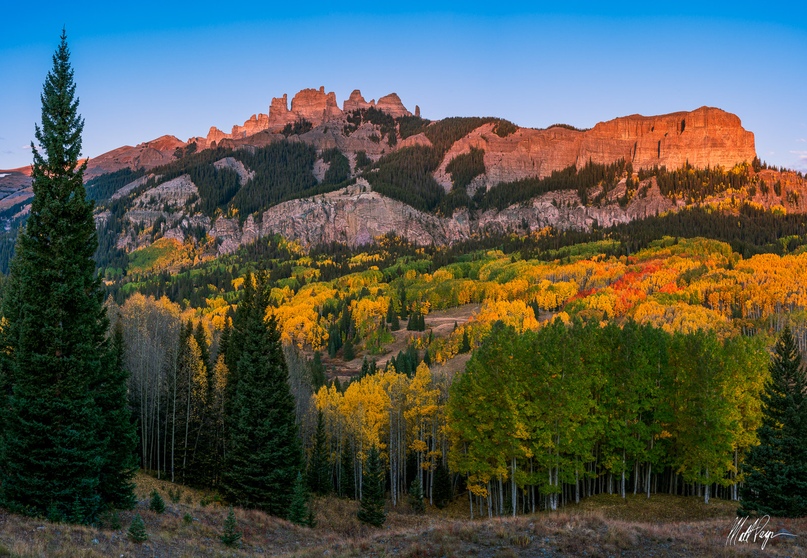 The Castles, Elk Mountains Wilderness, backpacking, aspen foliage, fall color, vibrant, sunrise, photo