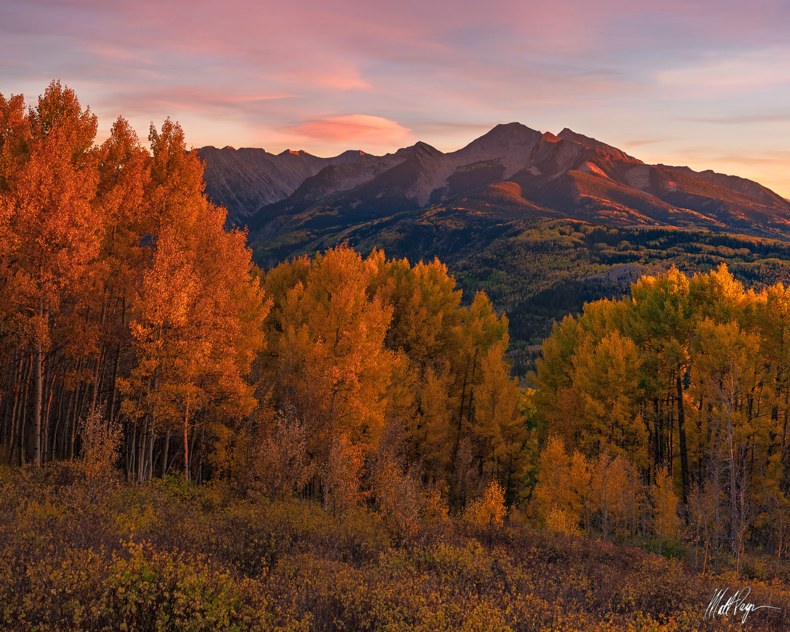 McClure Pass, Forest, fall color, Chair Mountain, aspen, landscape, lenticular clouds, mountains, glow, West Elk Mountains, photo