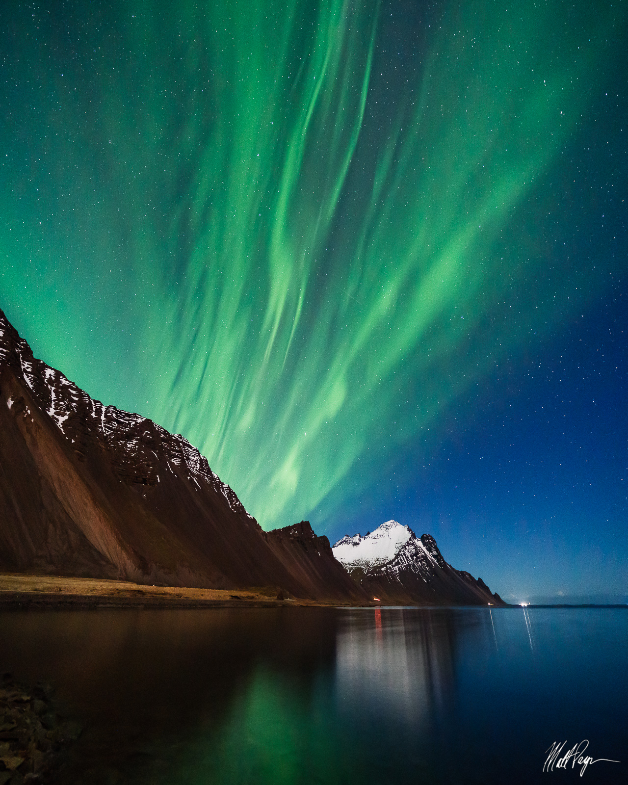 Aurora Borealis, Iceland, Landscape, Mountains, Night, Nightscape, Ocean, Reflection, Hofn, photo