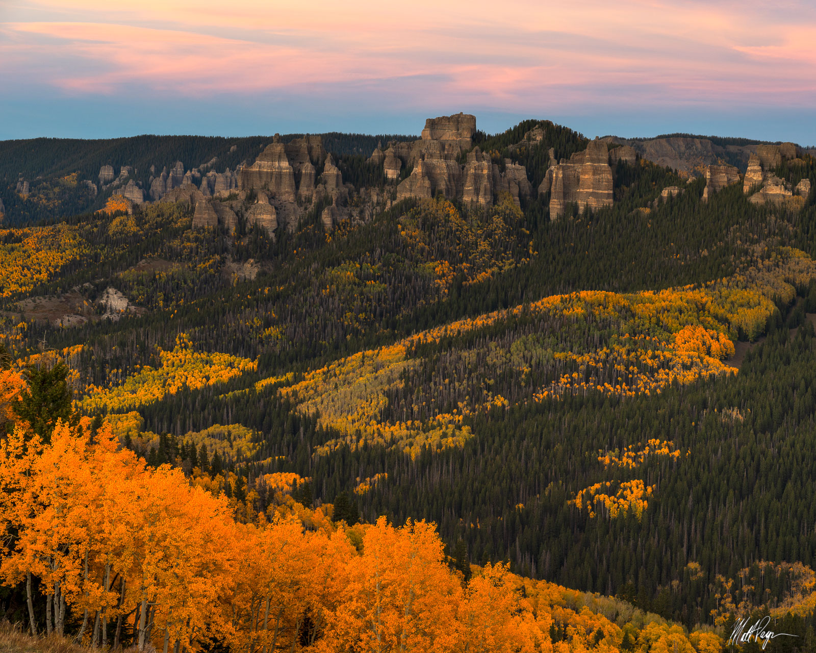 Late evening wispy clouds provided a nice splash of color in this scene near Ridgway, Colorado on a crisp fall evening. The autumn...