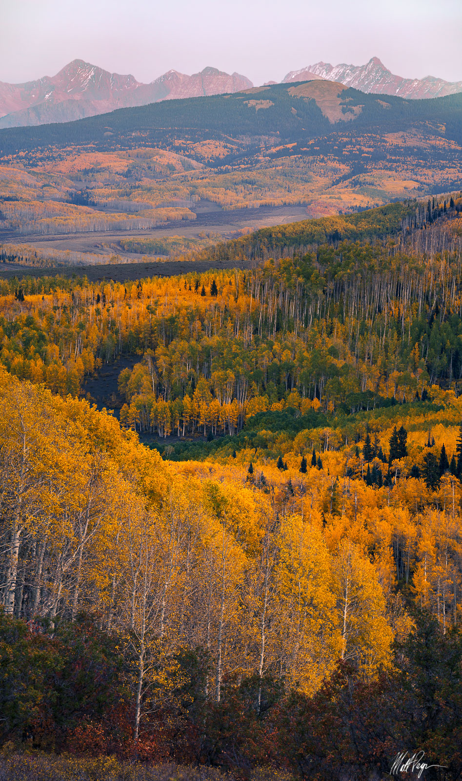 Utilizing a telephoto lens, I created this vertical panorama which includes scrub oak, aspen trees, large meadows, and towering...