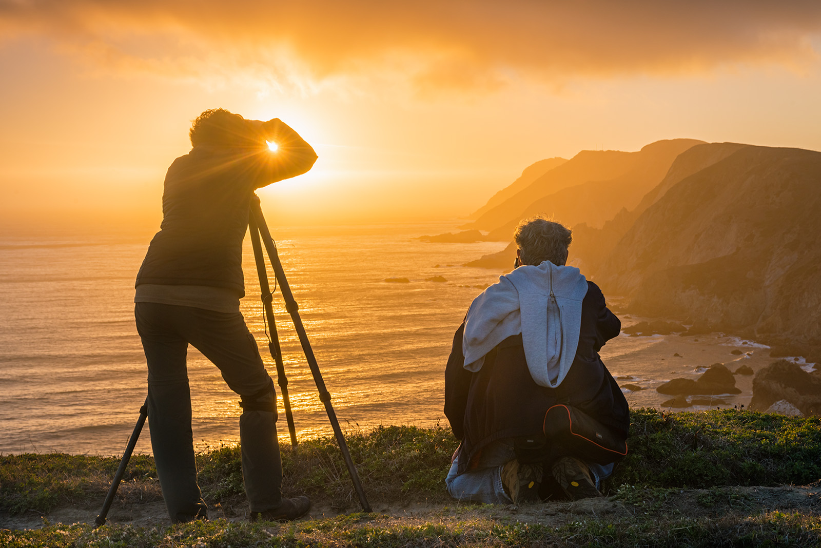 California, Point Reyes, Point Reyes National Seashore, Marin County, coast, coastline, coastal, people, person, photographer, photography, two, photographers, shooting, taking pictures, sunset, ocean, photo