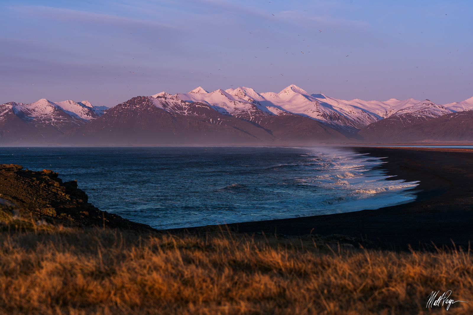 Birds, Coast, Hvalnes Lighthouse, Iceland, Landscape, Mountains, Ocean, Sunrise, Waves, Landscape Photography, photo
