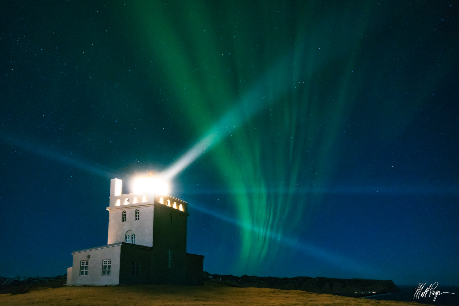 Aurora, Aurora Borealis, Beams, Coastal, Dyrhólaey, Iceland, Landscape, Light, Night, Nightscape, Stars, lighthouse, photo