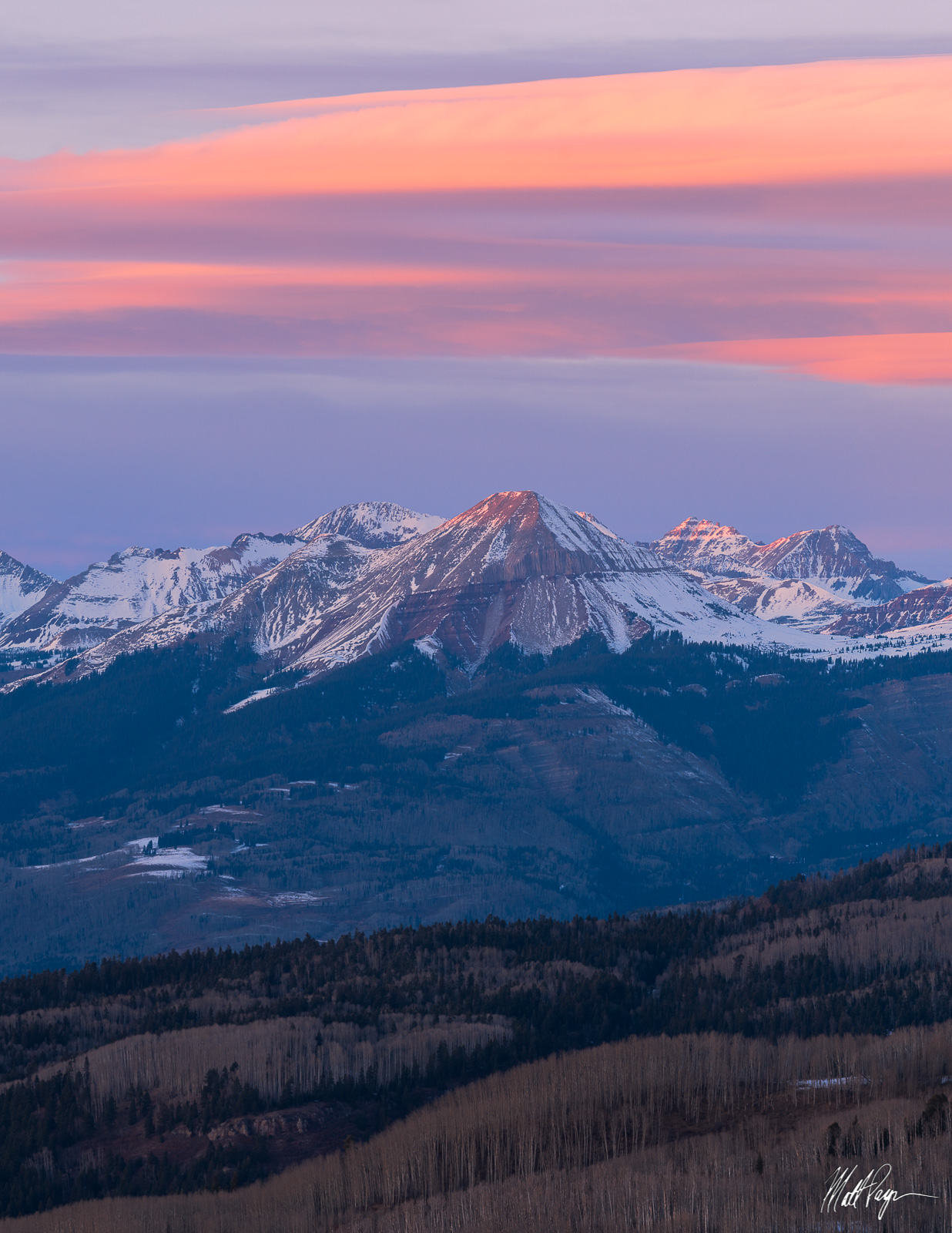 Colorado, Durango, Engineer Mountain, Sunset, Winter, photo