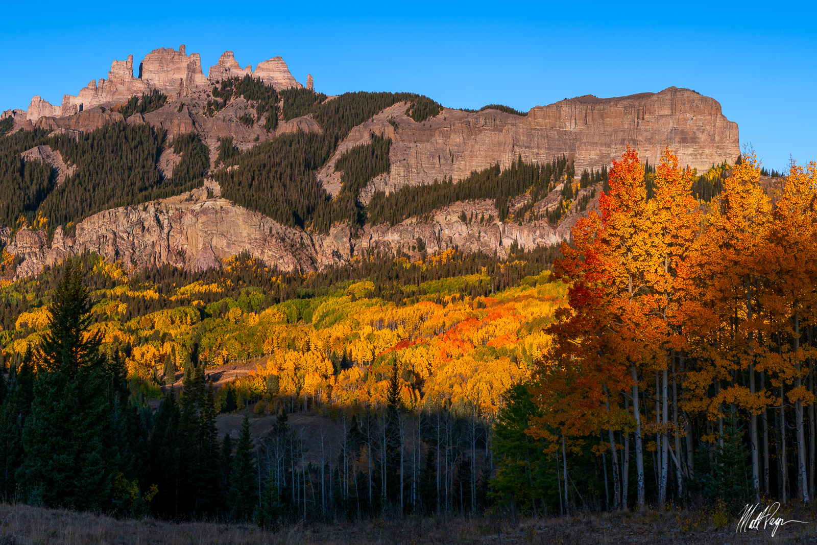 Alpenglow, Aspen Trees, Autumn, Blue Hour, Colorado, Crested Butte, Fall Colors, Gunnison, Mountains, Ohio Pass, Sunrise, The Castles, West Elk Mountains, photo