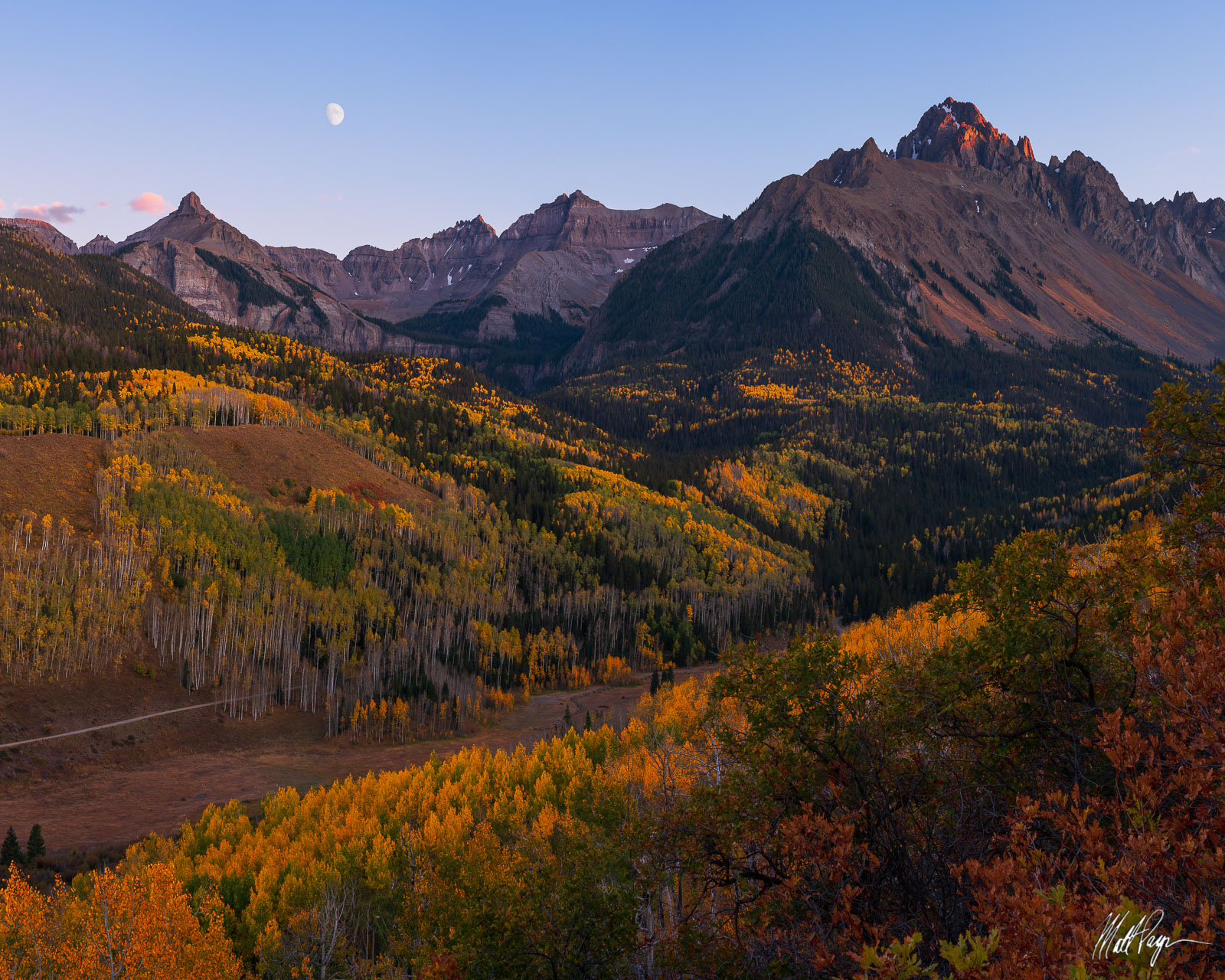 14er, Aspen Trees, Autumn, Cirque Mountain, Colorado, Fall, Fall Colors, Landscape, Moon, Mount Ridgway, Mount Sneffels, Mountains, Ridgway, Sunset, Teakettle Mountain, San Juan Mountains, photo