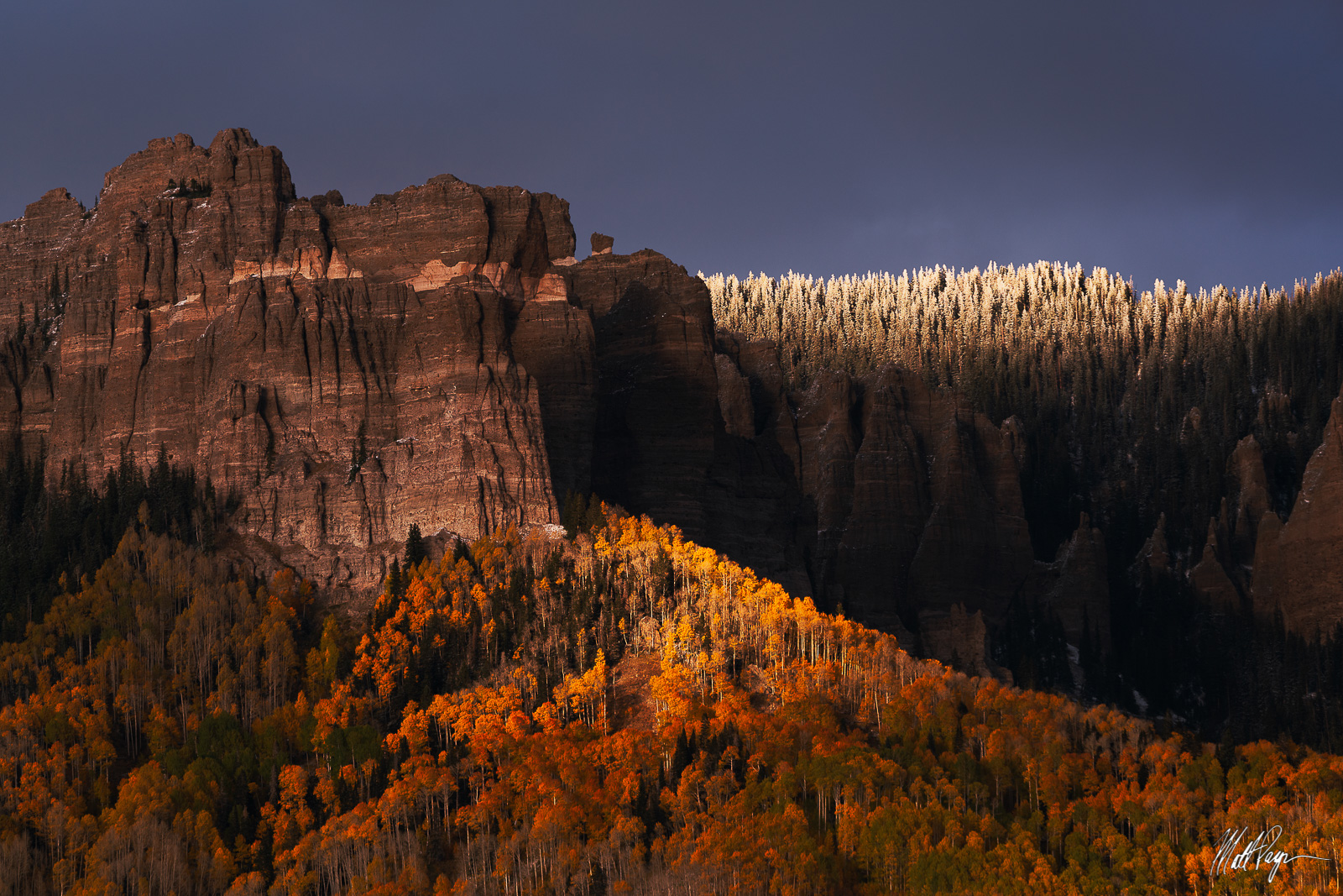 Aspen Trees, Autumn, Cimarron Mountains, Cliffs, Colorado, Ridgway, Snow, San Juan Mountains, photo