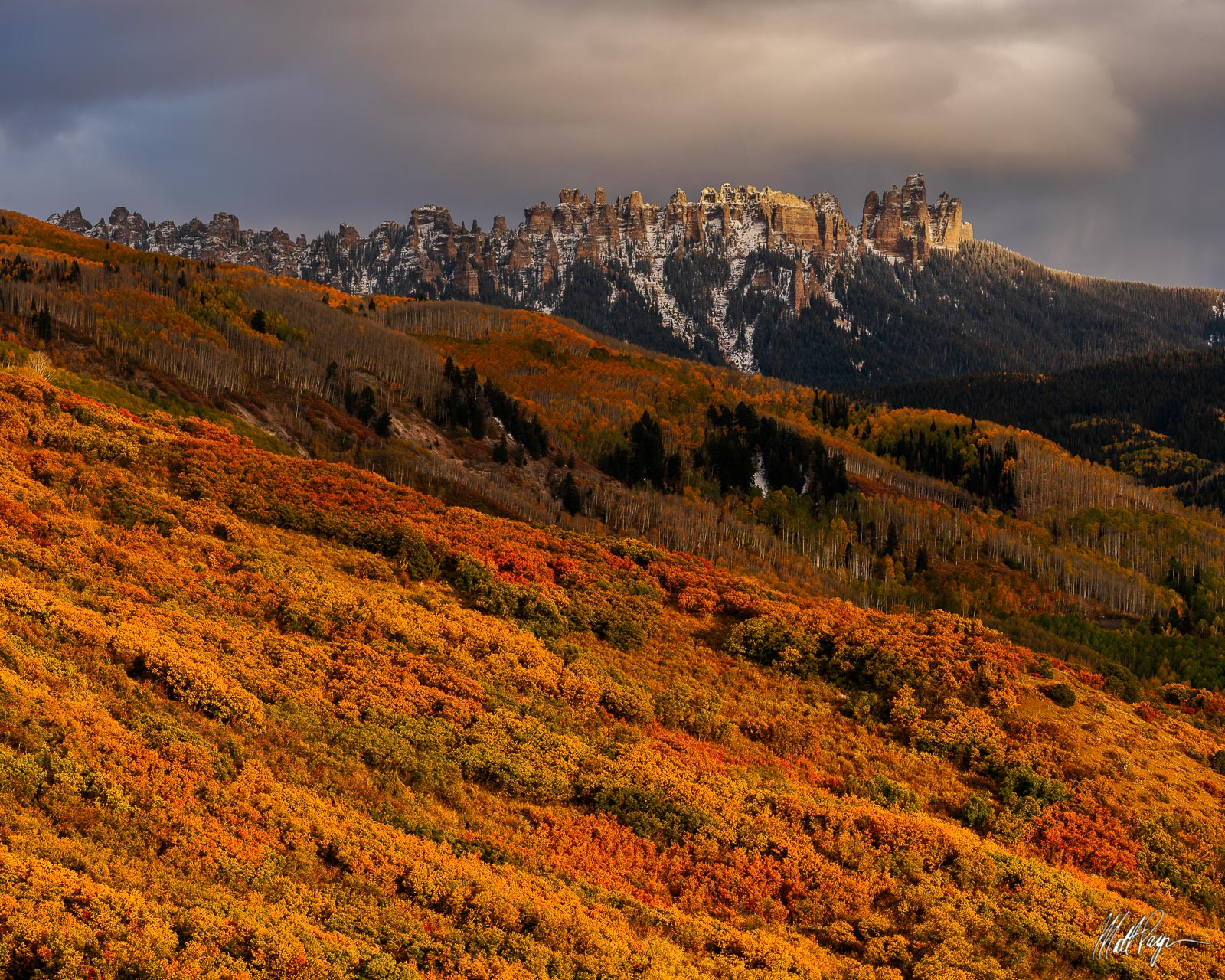 Cimarron Ridge is a really amazing rock feature near Ridgway, Colorado. Here, the scene is adorned with autumn scrub oak and...