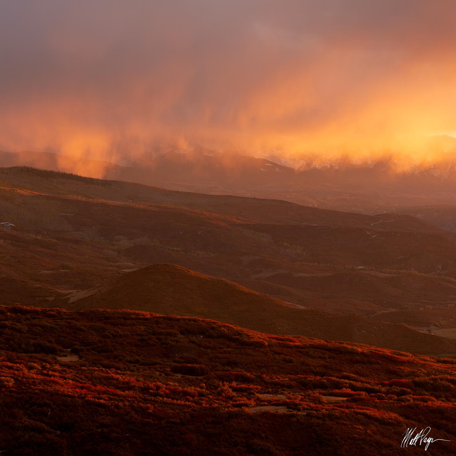 Autumn, Colorado, Dallas Divide, Ridgway, Sunset, cloud, scrub oak, storm, San Juan Mountains, photo