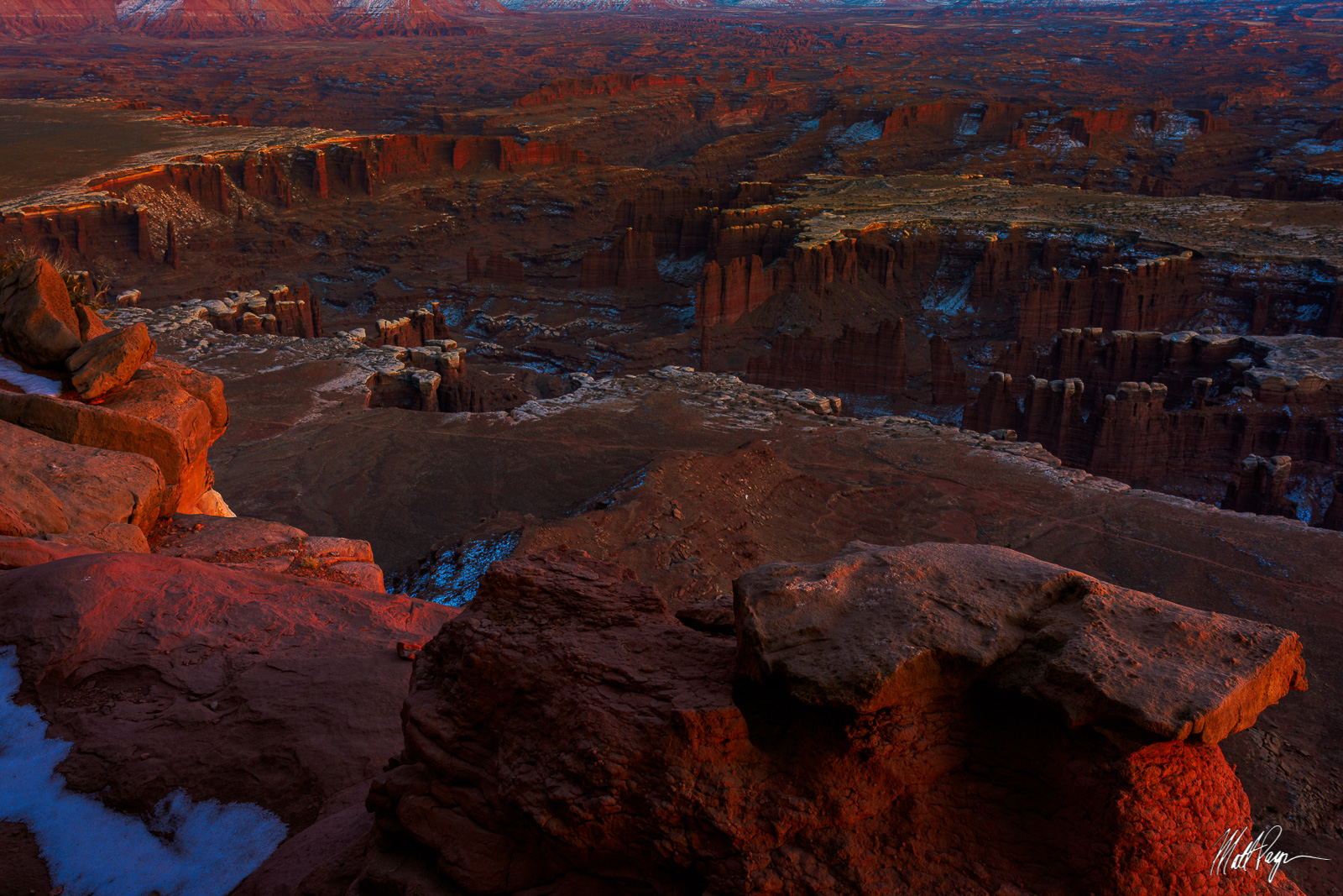 A winter sunset from the Grand View of Canyonlands in Utah  featuring the White Rim.Photo © copyright by Matt Payne.