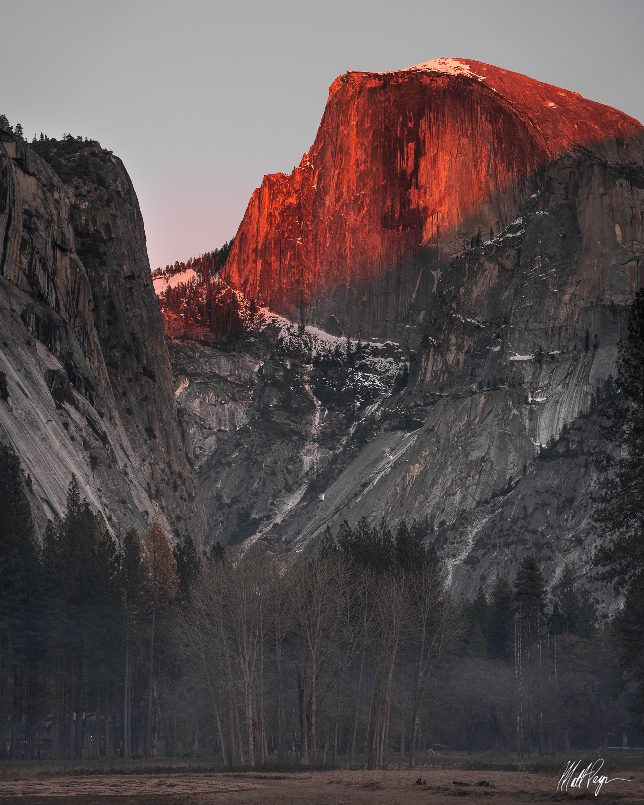 Half Dome, Light, Sunset, Winter, Yosemite National Park, granite, trees, Landscape Photography, photo