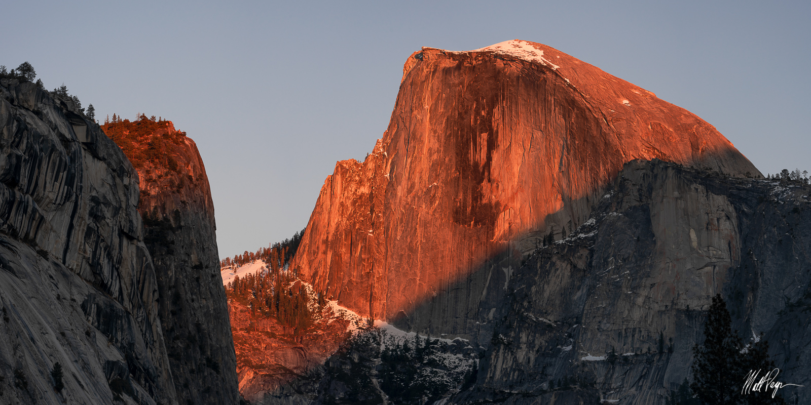 Half Dome, Sunset, Winter, Yosemite National Park, granite, photo