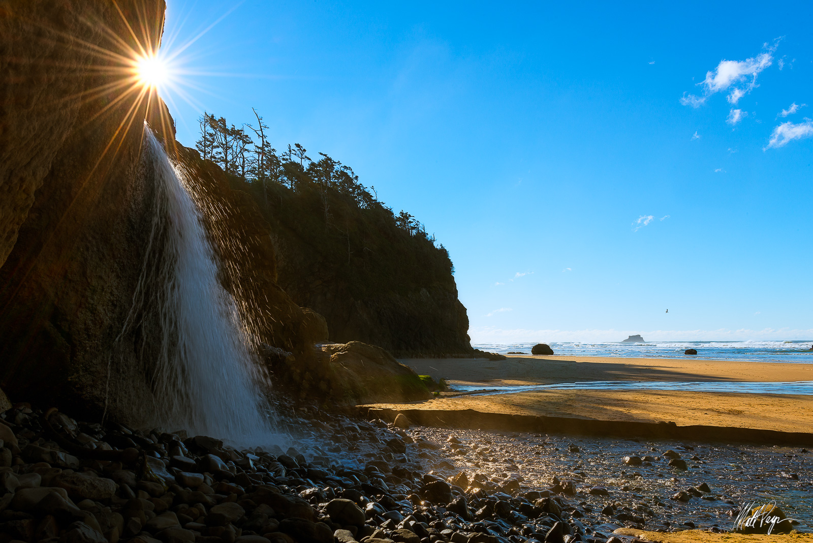 Beach, Coast, Hug Point State Park, Landscape, Ocean, Oregon, Sun, Sunstar, Water, Waterfall, rocks, photo