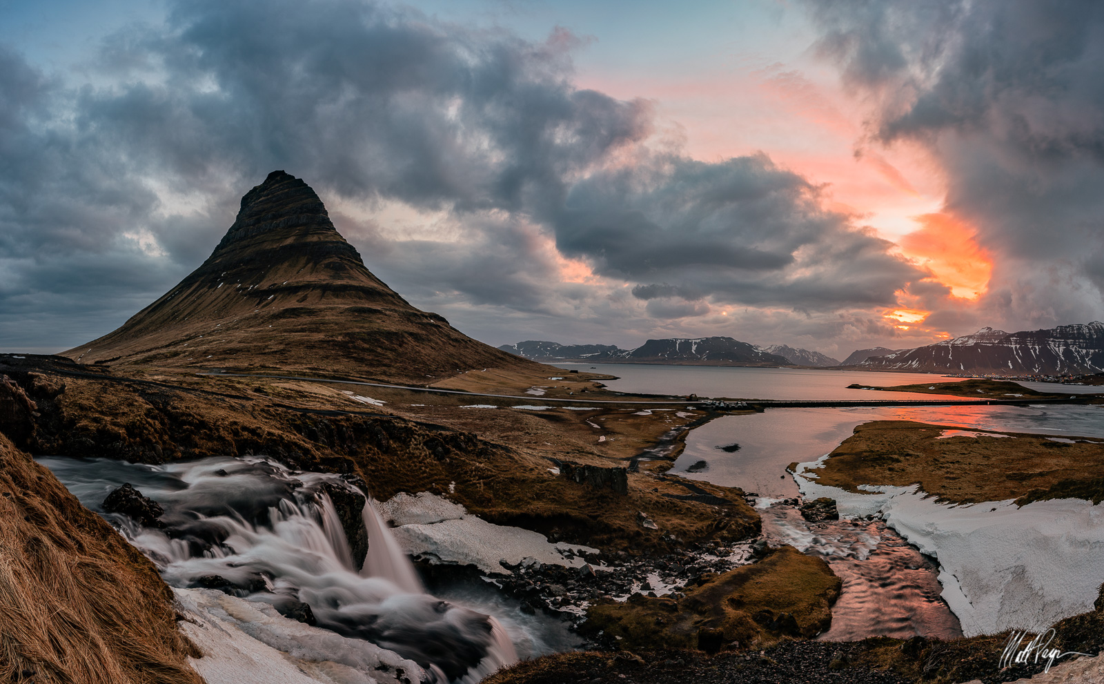 Clouds, Fjord, Iceland, Kirkjufell, Landscape, Loxia 21, Mountain, Reflection, Snaefellsnes Peninsula, Sony A7R2, Sunrise, Water, Waterfall, arctic, beautiful, grass, photo