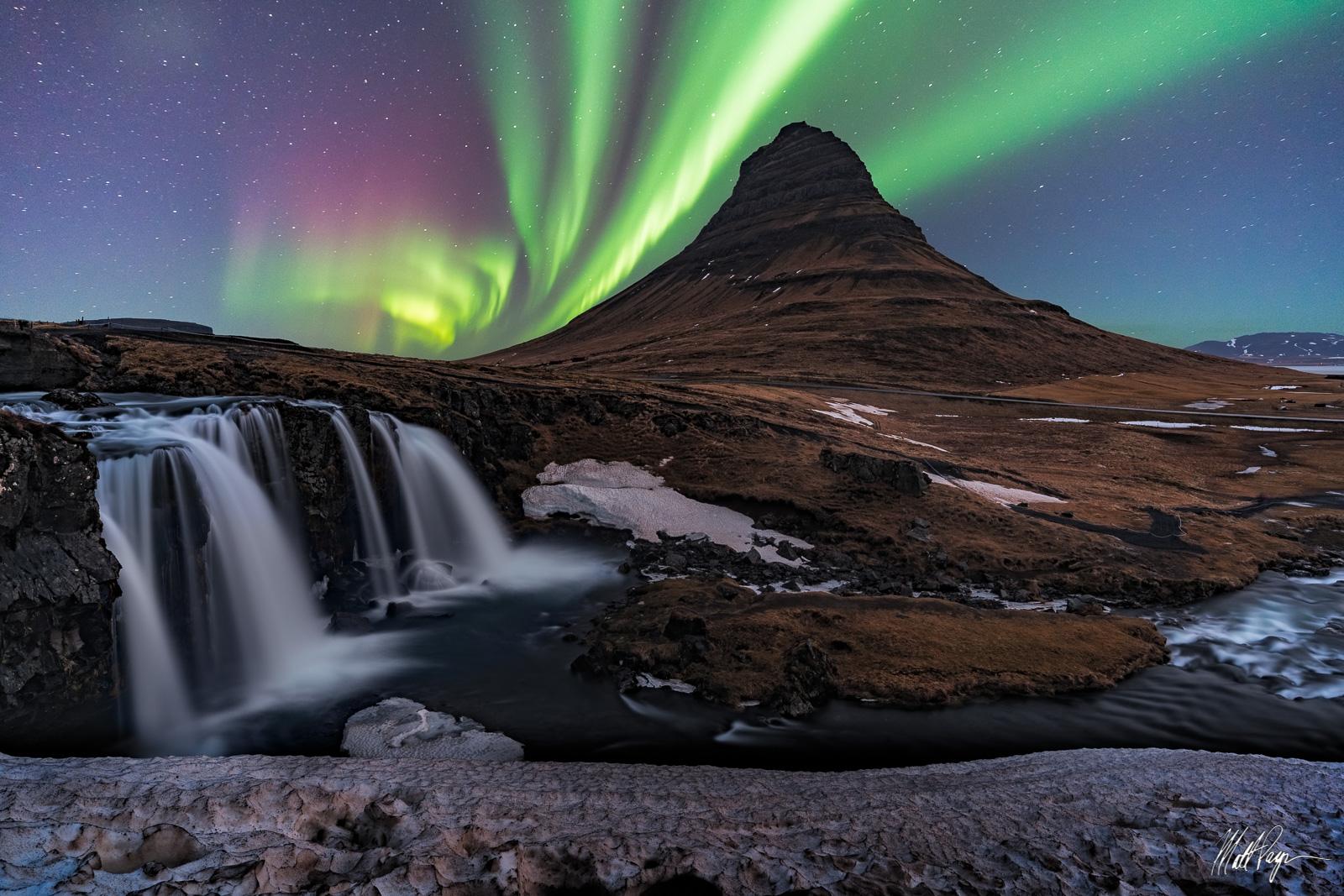 Aurora, Aurora Borealis, Composite, Iceland, Kirkjufell, Landscape,  Mountain, Night, Nightscape, Snaefellsnes Peninsula,  Waterfall, beautiful, photo