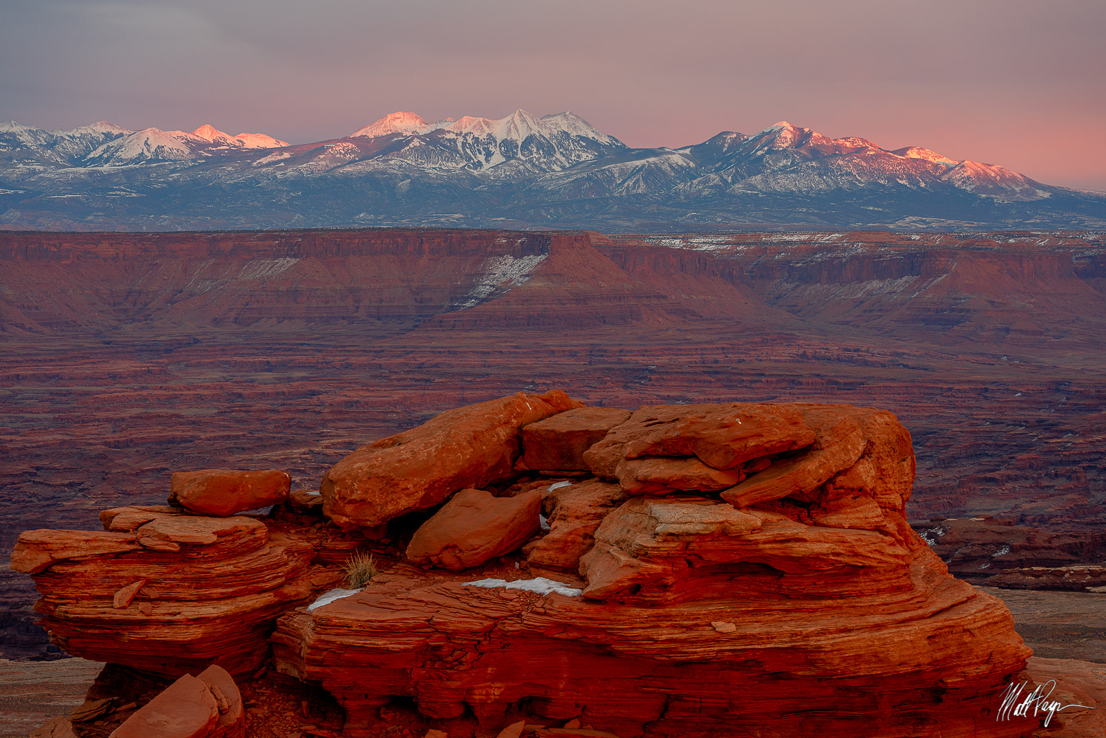 Canyonlands, Canyonlands National Park, Canyons, Grand Scenic, Island in the Sky, La Sal Mountains, Mountains, Snow, Sunset, Utah, Winter, desert, pastel, photo