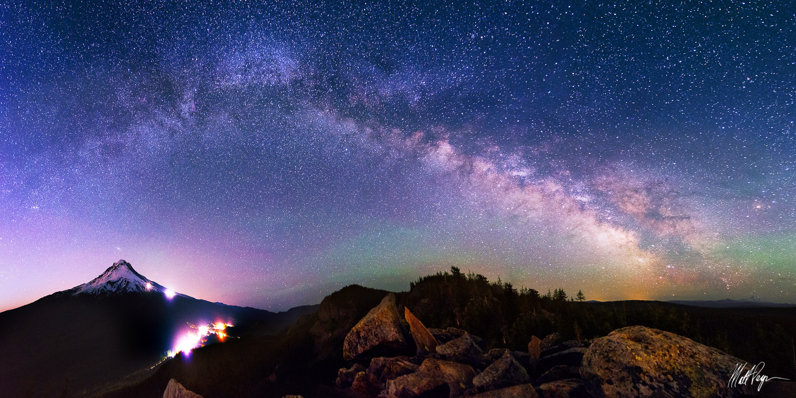 Government Camp, Milky Way, Mount Hood, Mount Jefferson, Mountains, Night, Oregon, Panorama, Portland, Rocks, Stars, photo
