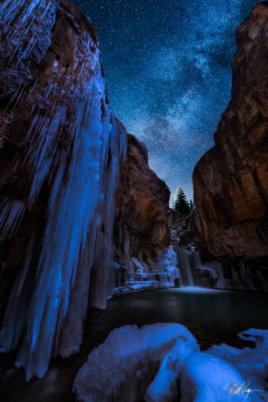 Colorado, Durango, Ice, Landscape, Milky Way, Mysterious, Night, Snow, Stars, Waterfall, Winter, ice, San Juan Mountains, photo