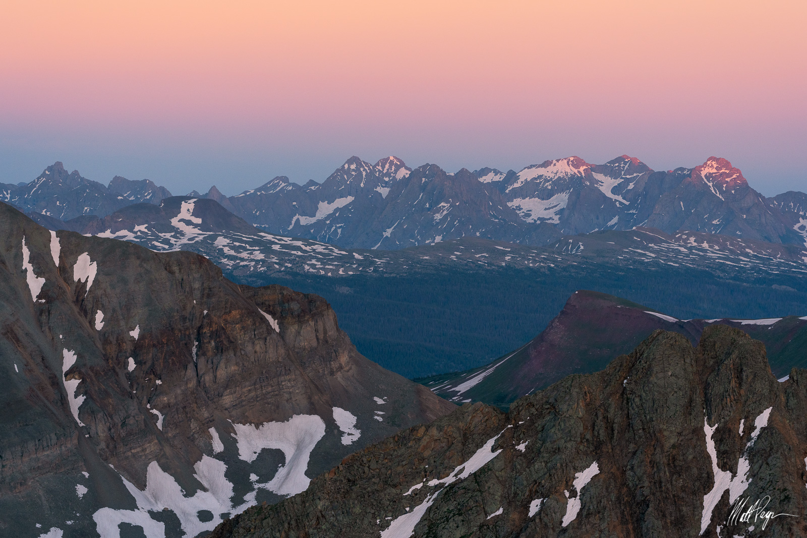 13ers, 14ers, Belt of Venus, Colorado, Durango, Eolus Peak, Jagged Mountain, Knife Point, Landscape, Mountains, Needle Mountains, North Eolus Peak, Pigeon Peak, San Juan Mountains, Silverton, Snow Cap, photo