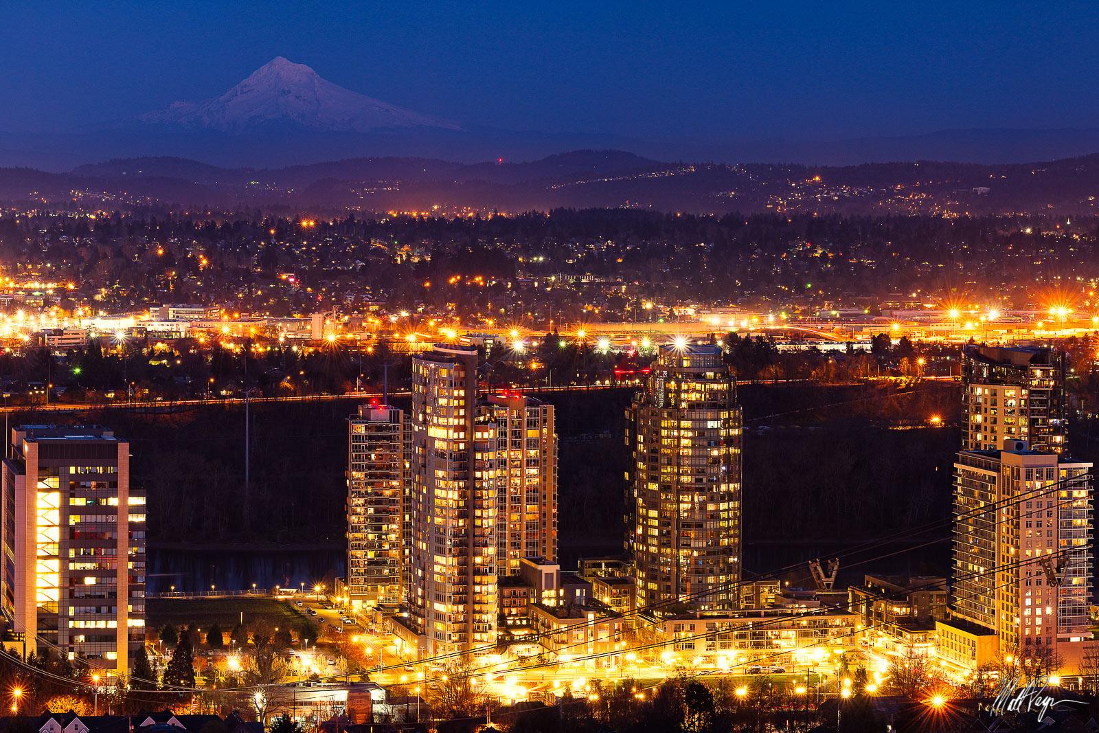 Mount Hood, Night, Southeast, OHSU Tram, Oregon, Portland, South Waterfront, photo