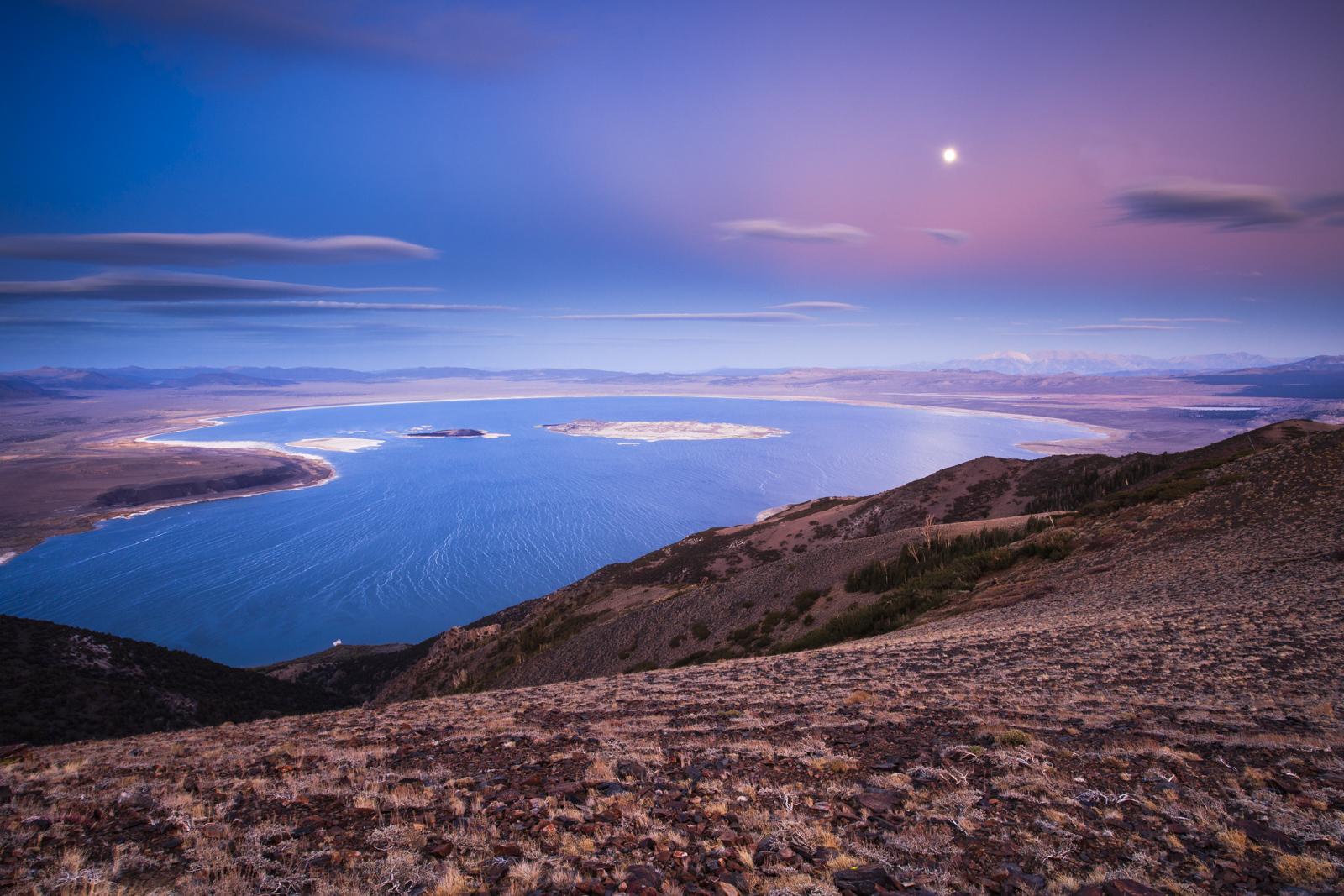 California, Mono Basin, North America, Owens Valley, USA, moon, photo