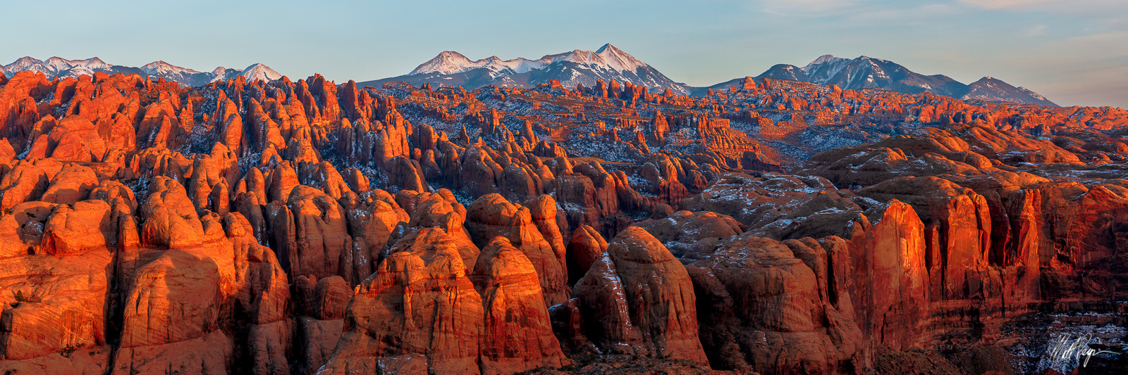 Glow, Grand Scenic, La Sal Mountains, Moab, Panorama, Panoramic, Sandstone, Sunset, Utah, Winter, landscape photography, photo