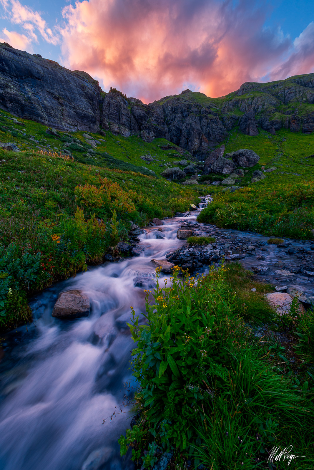 Clouds, Colorado, Ice Lake Basin, Landscape, Mountain, Silverton, Stream, Sunset, Water, light, wildflowers, photo