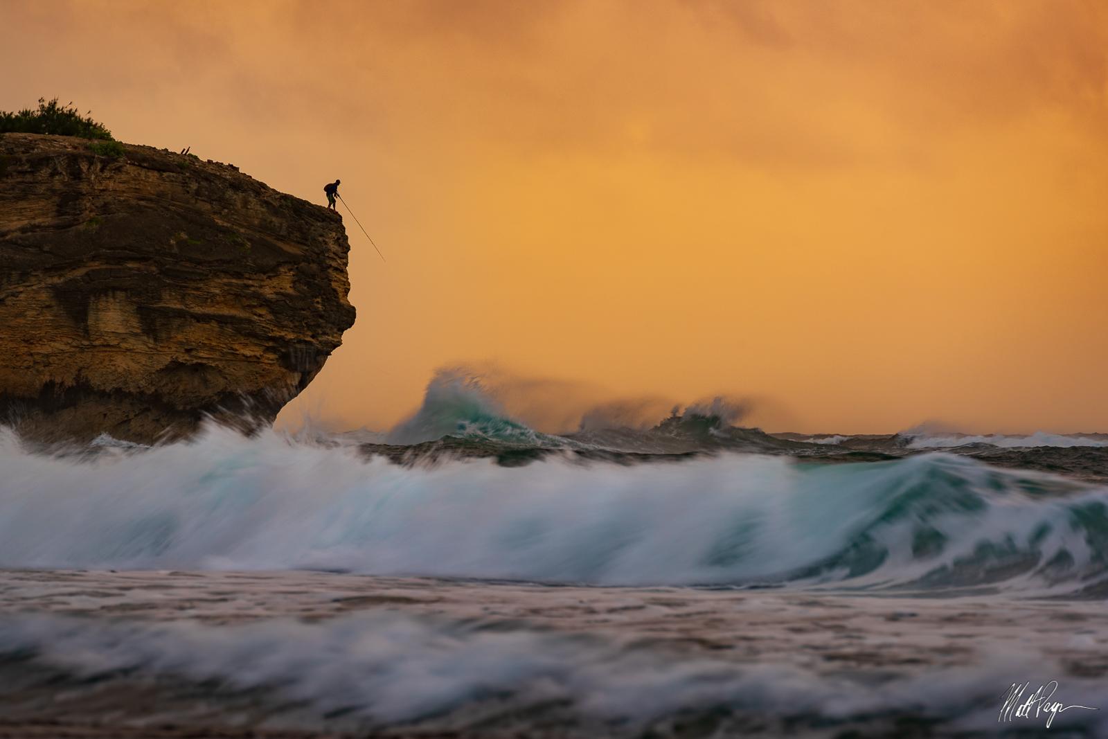 Fisherman, Hawaii, Kauai, Keoniloa Bay, Poipu, Shipwreck Beach, Shore, Waves, fishing, photo