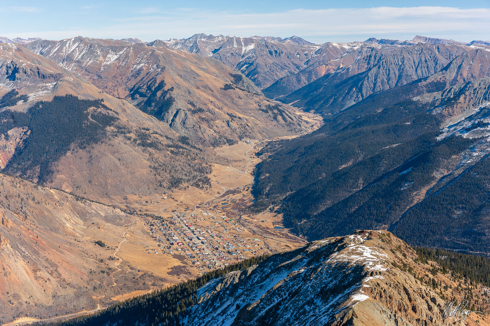 A view of Silverton, Colorado as seen from the summit of 13er Sultan Peak.Photo © copyright by Matt Payne.