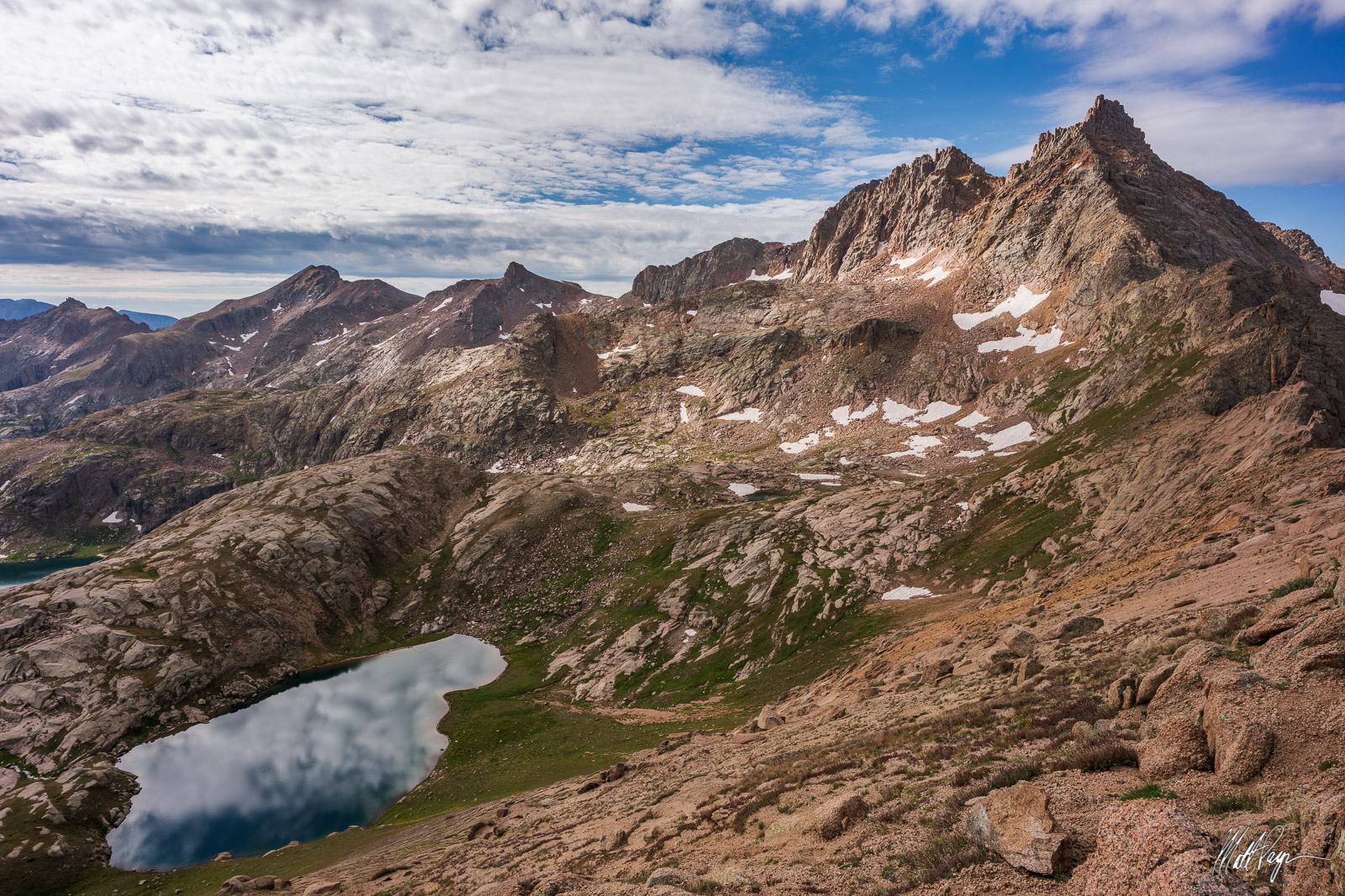 SOLD OUT.14er Sunlight Peak towers above all else as seen near the summit of 13er Knife Point deep in the Weminuche Wilderness...