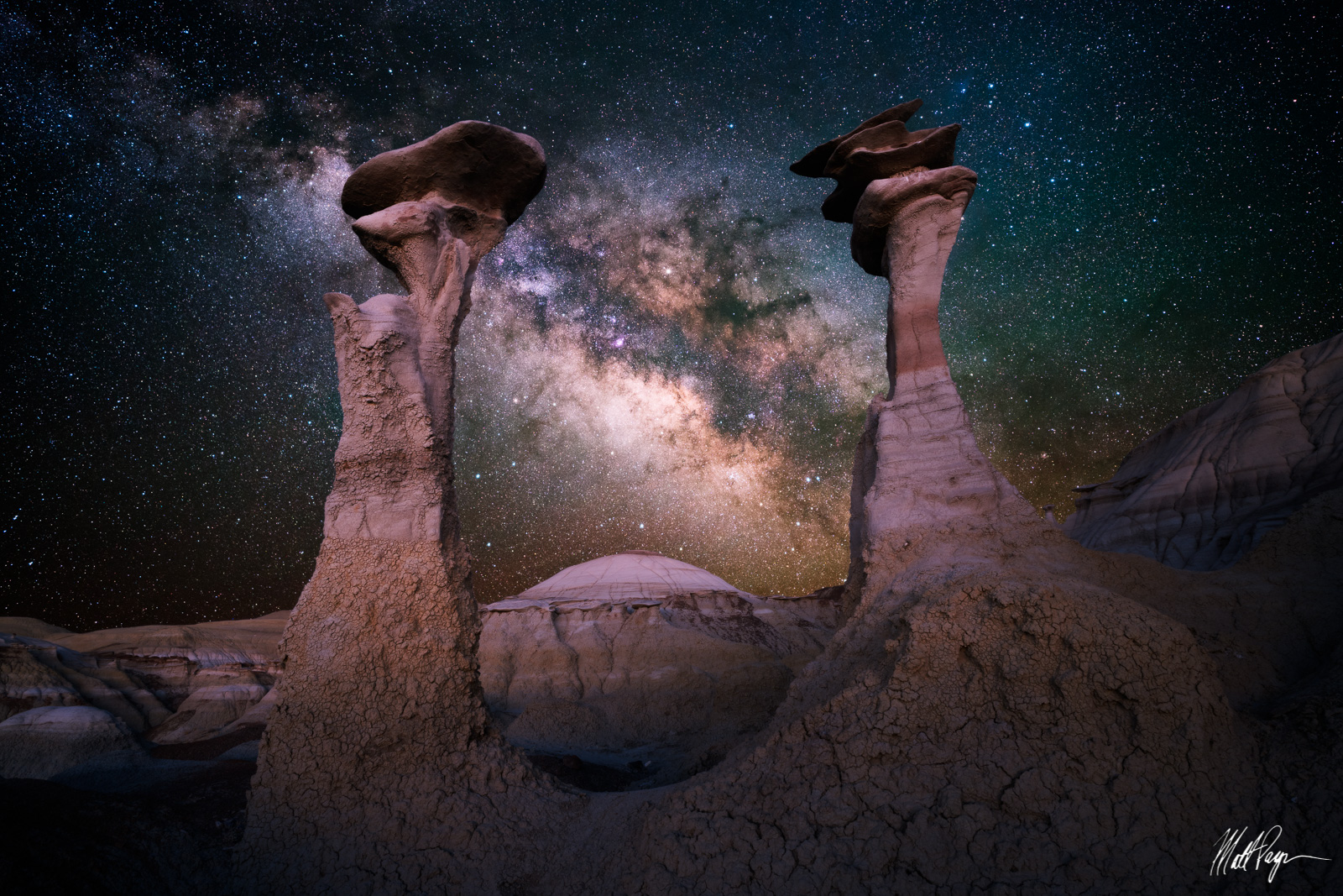 Astro-landscape, Bisti / De-Na-Zin Wilderness, Bisti Badlands, De-Na-Zin Wilderness, Galactic Center, Galaxy, Geology, Hoodoo, Landscape, Milky Way, New Mexico, Night, Nightscape, photo
