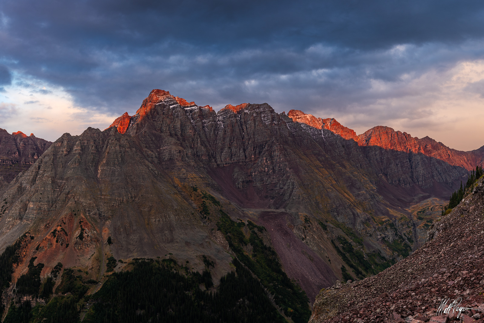 13ers, 14er, Alpenglow, Aspen, Centennial, Climbing, Colorado, Mountains, Fall, Landscape, Mountains, Pyramid Peak, Thunder Pyramid, sunset, snow, Maroon Bells, wilderness, photo